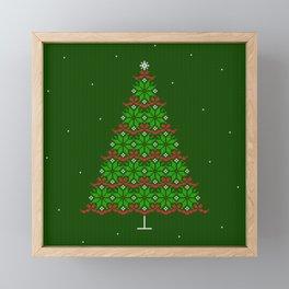 Christmas tree and snow green knitted Fair isle Framed Mini Art Print