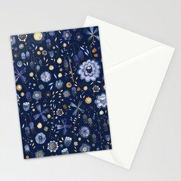 Indigo Flowers at Midnight Stationery Cards