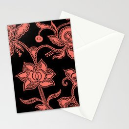 Vintage Floral Peach Echo and Black Stationery Cards