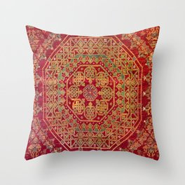 Bohemian Medallion VII // 15th Century Old Distressed Red Green Coloful Ornate Accent Rug Pattern Throw Pillow