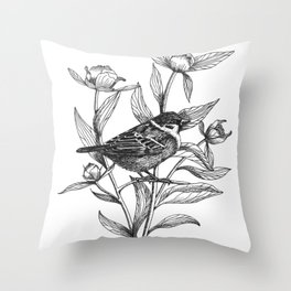 sparrow on peonies Throw Pillow