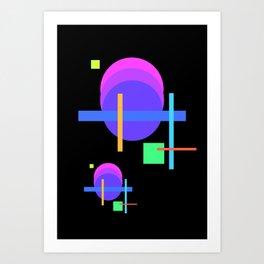 shapes on black -22- Art Print