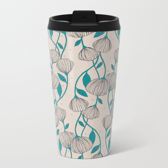 Blue Stem Flowers Metal Travel Mug
