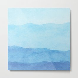 Ombre Waves in Blue Metal Print
