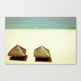 Vintage Beach Huts Canvas Print