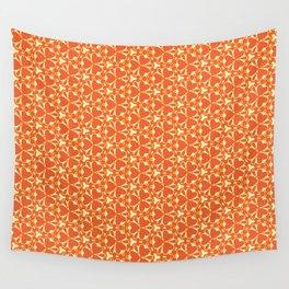 Bright Orange Geometrical Pattern Wall Tapestry