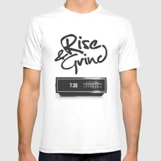Rise & Grind Mens Fitted Tee MEDIUM White