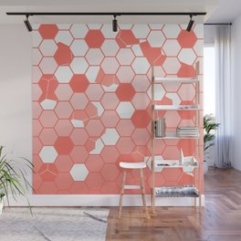 LIVING CORAL PANTONE COLOR OF THE YEAR 2019 SCATTERED HEXAGON OMBRE GRAPHIC DESIGN Wall Mural