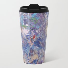 Thinking in Blue: Abstract Acrylic Painting in blueish tones Travel Mug