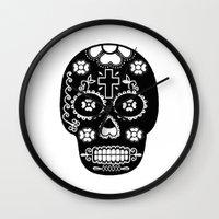 dia de los muertos Wall Clocks featuring DIA DE LOS MUERTOS by RIGOLEONART