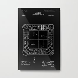 Monopoly: Original Patent Drawing - White on Black Metal Print