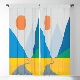 Road dwindling upon the mountains vintage artwork Blackout Curtain