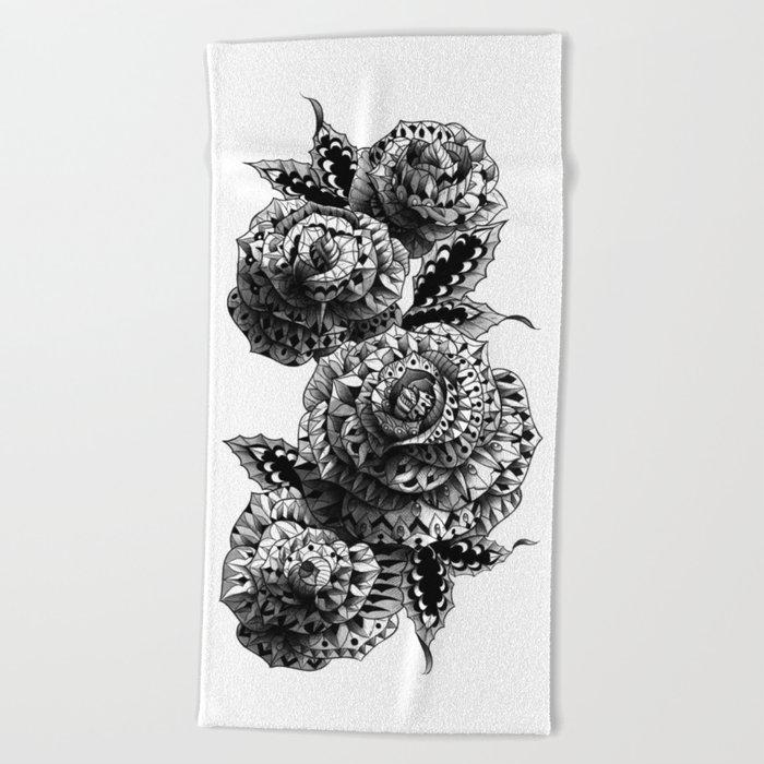 Four Roses Beach Towel