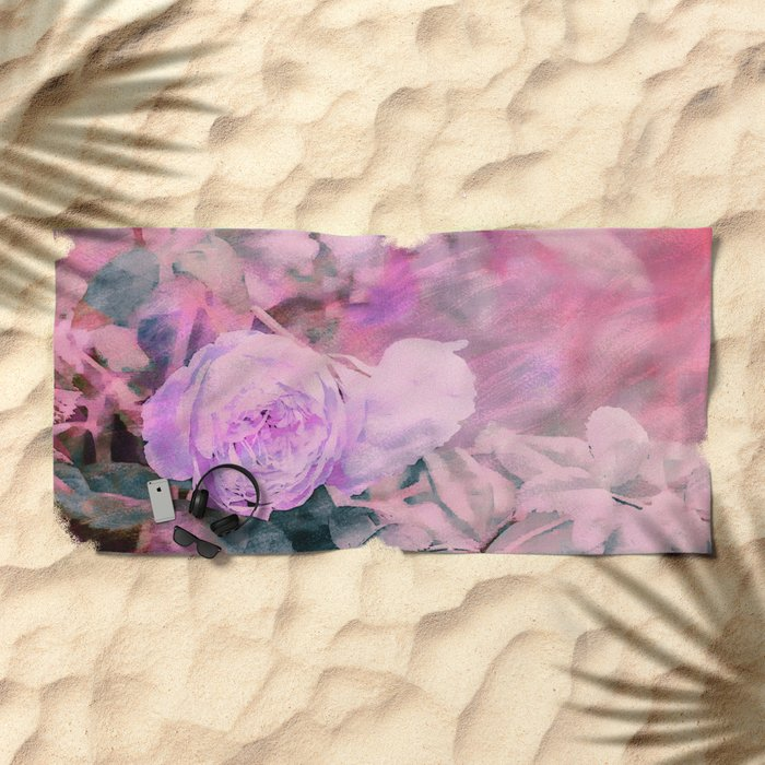 Romantic Rose Soft Pastel Colors Beach Towel