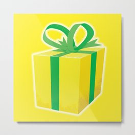Yellow wrapped present Metal Print