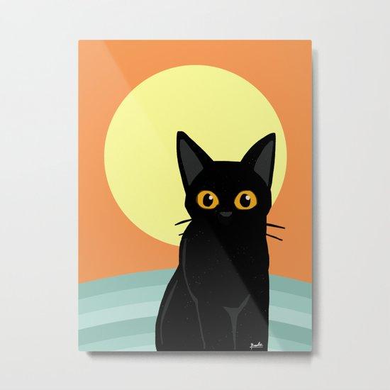 Sunset and cat Metal Print