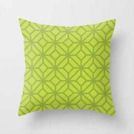 Lime Green Retro Tiles Throw Pillow