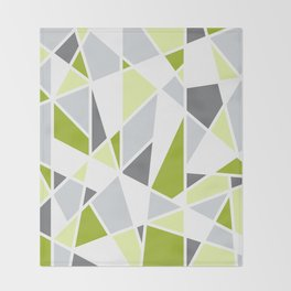 Geometric Pattern in Lime, Yellow, Gray Throw Blanket