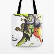 Dinosaur wearing Jetpack Tote Bag