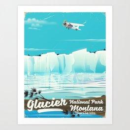 Glacier National Park vintage poster Art Print