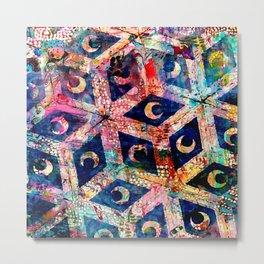 Abstract Moon Tile  Metal Print