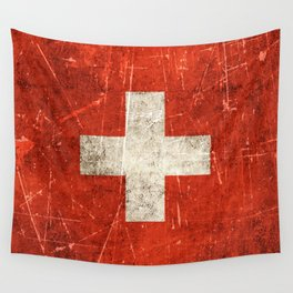 Vintage Aged and Scratched Swiss Flag Wall Tapestry