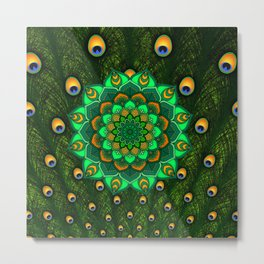 green peacock mandala Metal Print