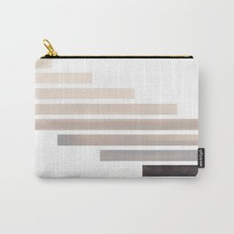 Grey Midcentury Modern Minimalist Staggered Stripes Rectangle Geometric Aztec Pattern Watercolor Art Carry-All Pouch