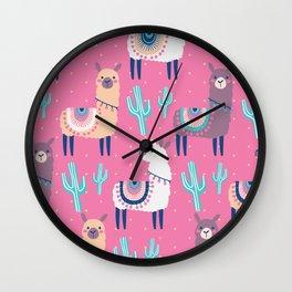 Llama pattern Wall Clock