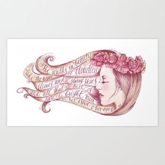 She Walks in Beauty Art Print