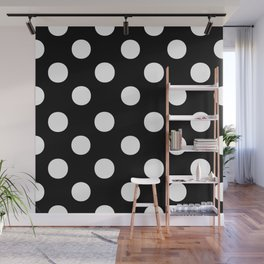 Polka Dots (White/Black) Wall Mural
