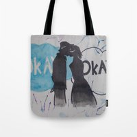 okay Tote Bags featuring Okay.  by Oksana's Art