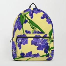 Watercolour Iris on Yellow Backpack