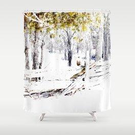 Winter Fence Line | Landscape | Nadia Bonello | Canada Shower Curtain