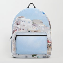 Pastel Colored View on Santorini Greece Backpack