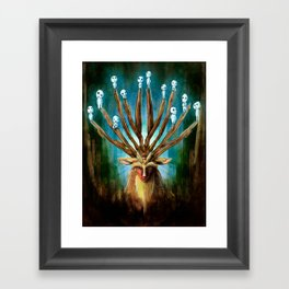Princess Mononoke The Deer God Shishigami Tra Digital Painting. Framed Art Print