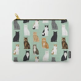 Cat breeds pattern kitty kittens cats tabby siamese white tortoiseshell Carry-All Pouch