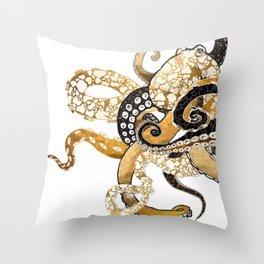 Metallic Octopus Throw Pillow