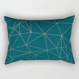 Benjamin Moore Hidden Sapphire Gold Geometric Pattern Rectangular Pillow