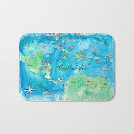 Caribbean Cruise Travel Poster Map Antilles West Indies Cuba Florida Bath Mat