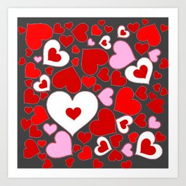 RED HEARTS ON WHITE HEARTS GREY Art Print