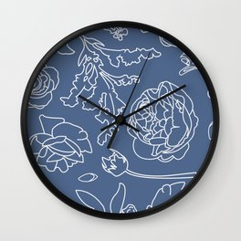 Peony Print (Navy) Wall Clock
