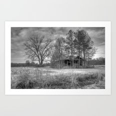 Hidden Home in Black and White Art Print