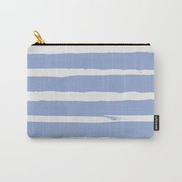 Irregular Hand Painted Stripes Light Blue Carry-All Pouch