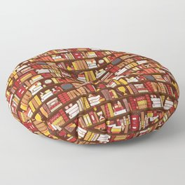 Book Case Pattern - Red and Gold Floor Pillow