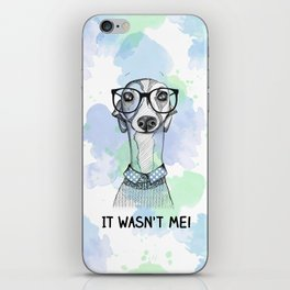 Greyhound with glasses iPhone Skin