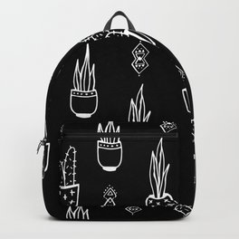 Boho Cactus, Black and White Succulent Art Backpack