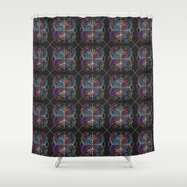 Abstract geometric rainbow colors watercolor floral Shower Curtain