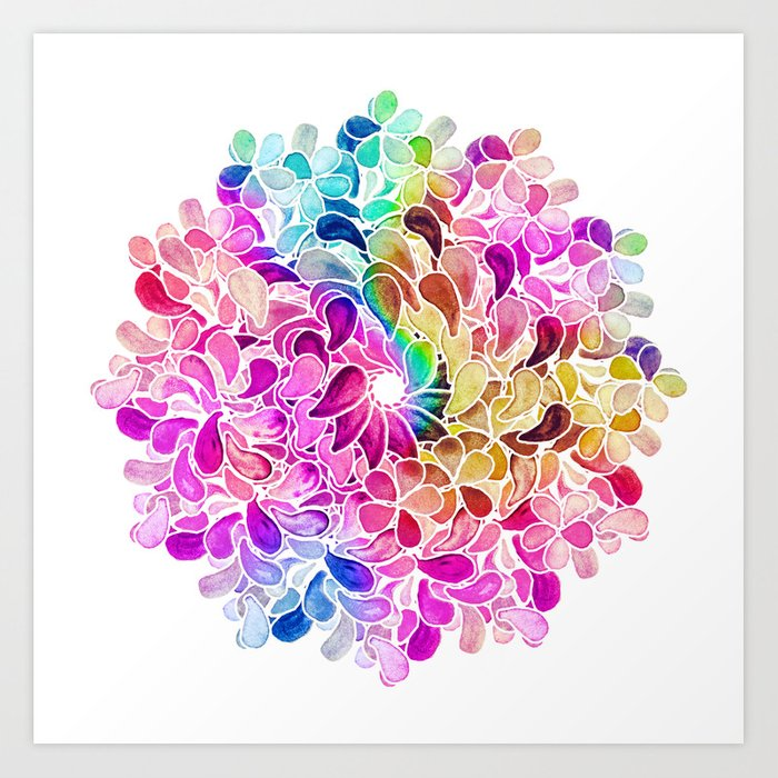 Rainbow Watercolor Paisley Floral Art Print
