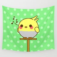 birdy Wall Tapestries featuring Kawaii birdy by peppermintpopuk